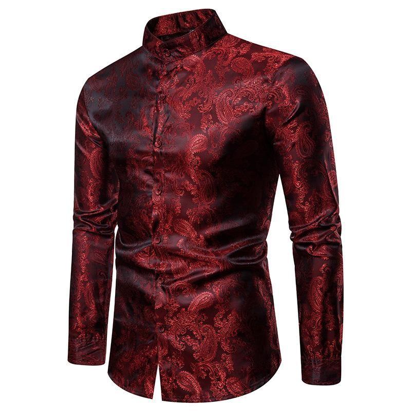 Erkek Elbise Gömlek Sahte İpek Paisley Smokin Sonbahar Streetwear Uzun Kollu Erkek Standı Yaka Ofis Gömlek Erkekler Büyük ve Uzun Boyutu XXL