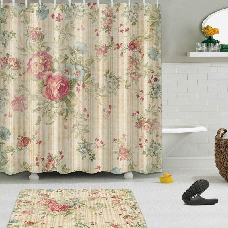 Di alta qualità diverso bagno impermeabile bagno bellissimo motivo floreale per doccia tenda poliestere tessuto tenda da bagno 201127