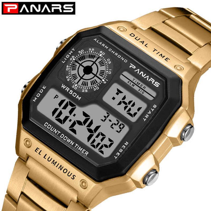 Panários Homens de Negócios Relógios À Prova D 'Água G Assista Choque Aço Inoxidável Relógio de Relógio Digital Relogio Masculino Erkek Kol Saati 201124