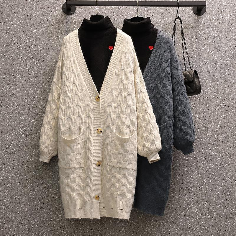 Puntos para mujer Tees estilo coreano mujeres suéter de longitud mediana cárdigan de punto christmas casual batwing manga larga ropa