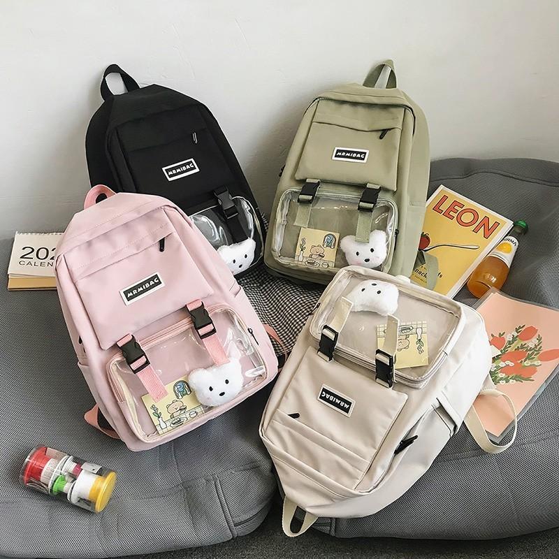 Casual Transparente Diseñado Mujeres Viajes Mochilas de Viajes Grande Capacidad Femenino High School Bolsos para las bolsas de libros universitarias de adolescentes A1113