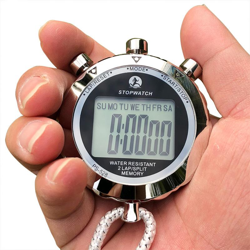 Wholesale-ps528 المعادن ساعة توقيت المهنية كرونوغراف يده الرقمية lcd الرياضية عداد الموقت مع حزام