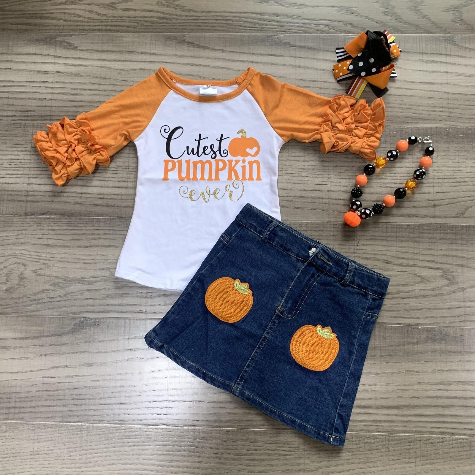 Girlymax halloween fall/winter baby girls Jeans children clothes boutique icing cutest pumpkin top denim skirt match accessories Y1113