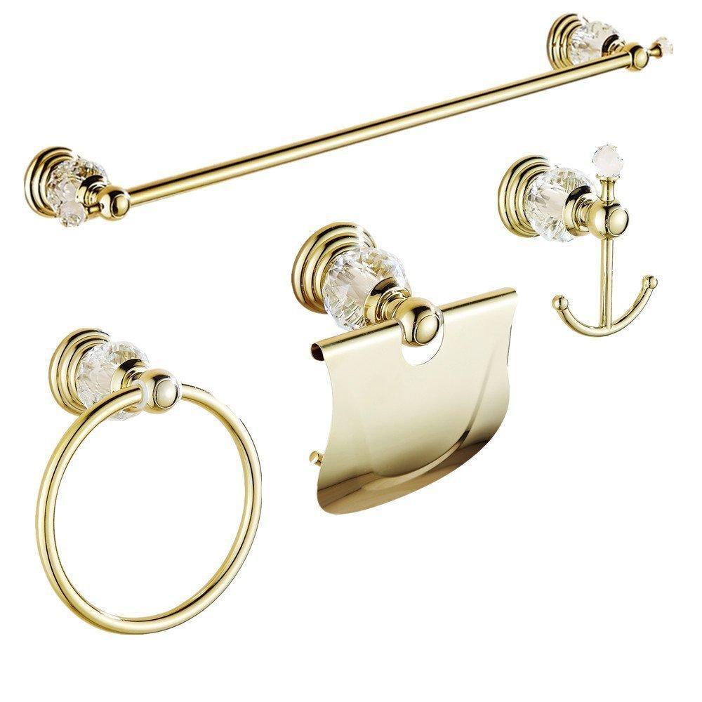 Or poli Accessoires de salle de bain Ensembles porte-serviettes BrassCrystal mural Porte-papier Ensemble matériel salle de bains