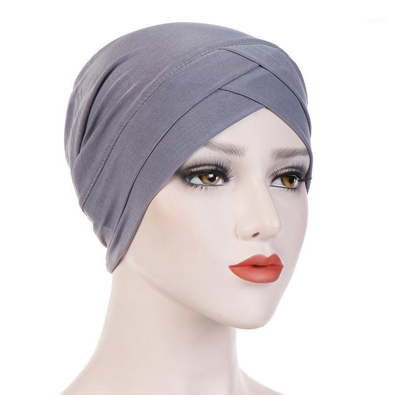 Donne Hally Turban Hat Cross Head Wrap Cotton Cap Berretto in cotone Solido Soft Fountescarf Nuovo Arrivo Fashion Muslim Sciarpa di alta qualità1