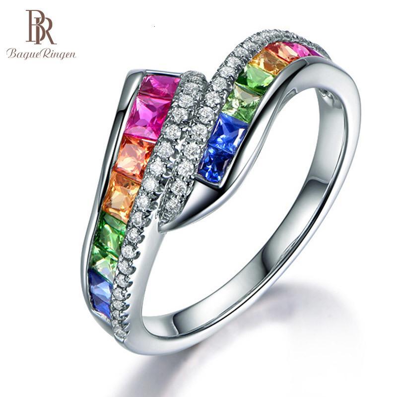 Bague géométrie argent 925 bijoux couleurs pierres précieuses sonnerie pour femmes style spécial arc-en-ciel tendance féminin fête fête poison