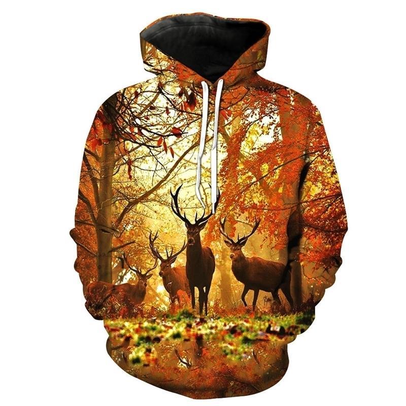 Nouveau SweatShirt Mode Hommes / Femmes Sweats à Sweats à Sweats à Sweats à Sweats de Forêt Modèle Animal Slim Unisexe Slim Slim Hoodies à capuche à capuche Y200519