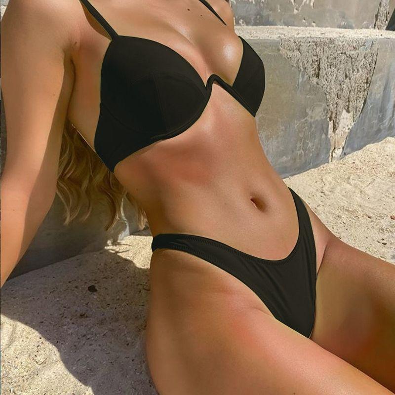Sexy 2 Pieces Push Up Bikini Set High Cut Ribbed Low Waist Sex Swimwear Women Swimsuit