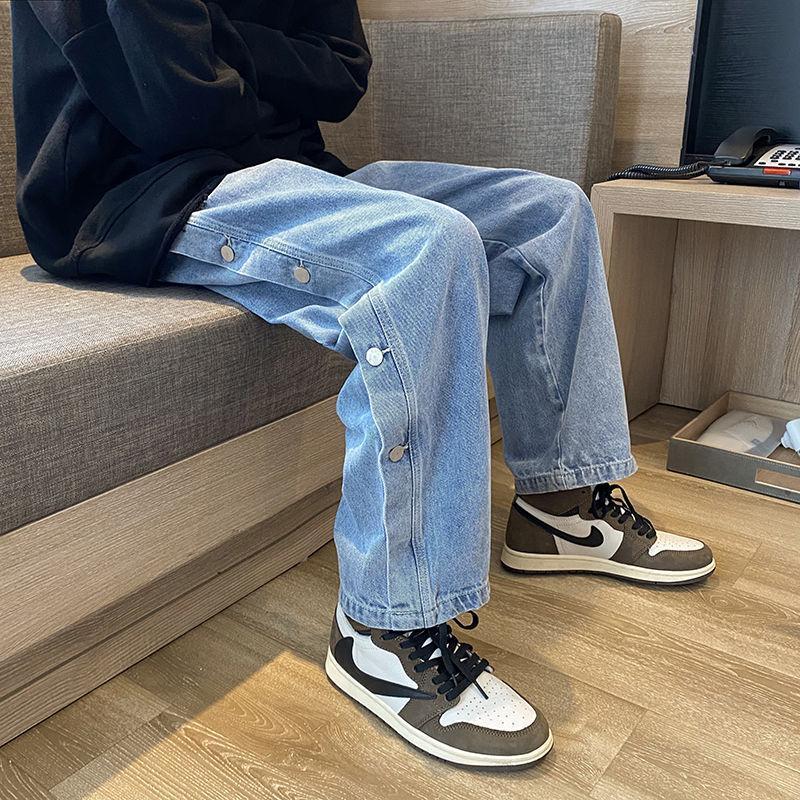 2020 Otoño e invierno Nuevos jóvenes Popular All-Partido Breasted Color Sólido Jeans Moda Casual Pantalones de pierna recta Negro / Azul
