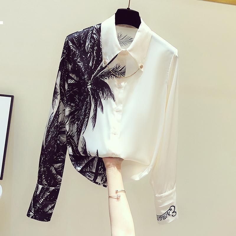 Sonbahar 2021 Yeni ve Yeni Yaz Uzun Beyaz Kollu Kadın Grafik Gömlek Tasarımcı Lüks Giyim KM5H Oyjf