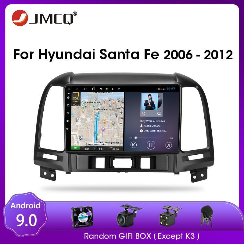 JMCQ Santa Fe 2006-2012 Android 9.0 Araba Radyo Multimedya Video Oynatıcı Multimedya Ses Çalar 2 Din Bölünmüş Ekran RDS Araba DVD