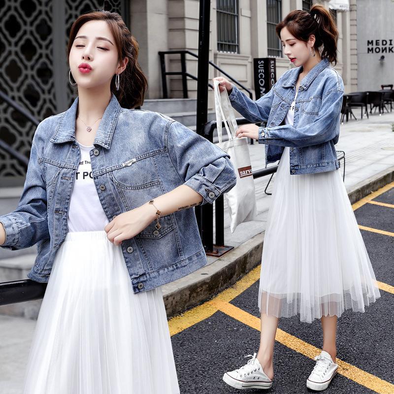 Denim Veste Court Femme 2020 Automne Nouveau Coréen Académique BF Fashion Lâche Top polyvalent