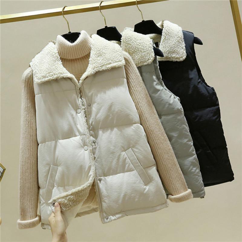 Kadın yelekleri peluş aşağı çevirin yaka yelek kış ceket Kore tarzı düğmeler kolsuz casual ceketler femme casacas para mujer tops