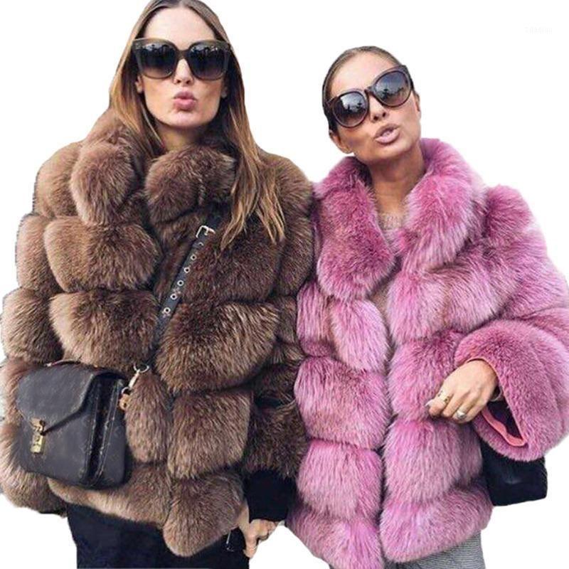 Толстые теплые зимние меховые пальто женщин новейший Faux меховая куртка осень мода повседневная верхняя одежда девочек плюс размер пальто плюс размер1