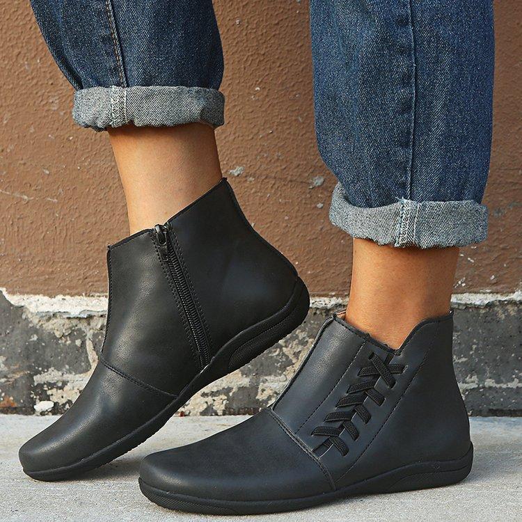 Botas de cuero para mujer Otoño e invierno Zapatos de gran tamaño de invierno Boots de deportes ocasionales de viento británico 35-43