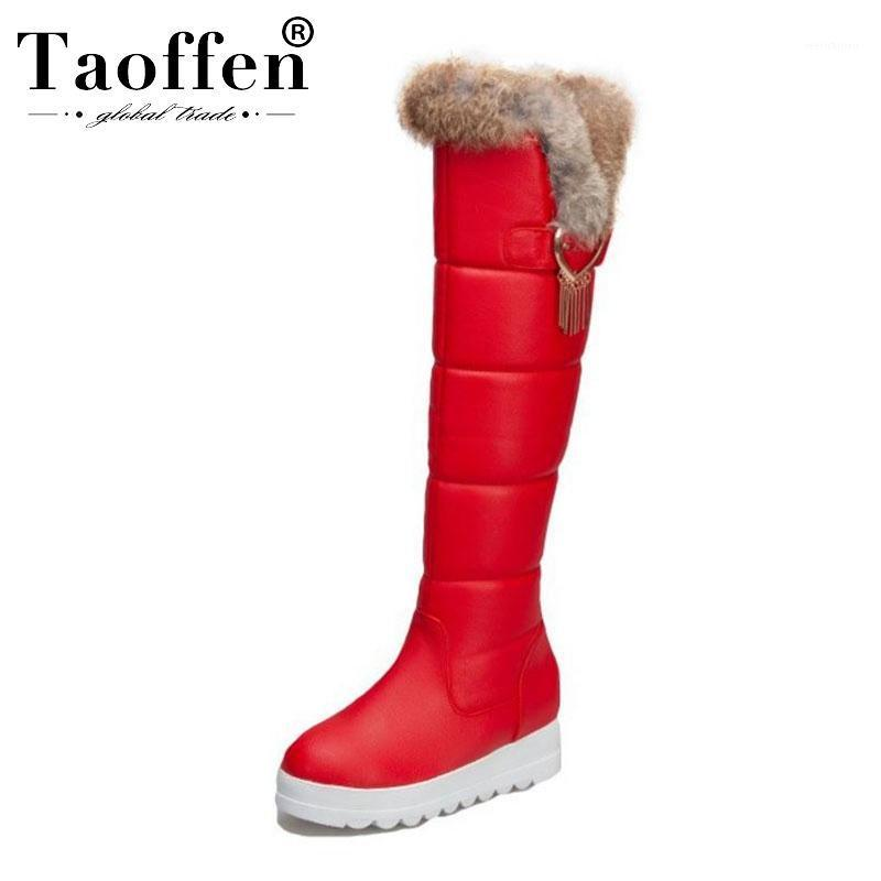 Taoffen donna peluche in pelliccia ginocchio stivali alti mantengono calda inverno stivali da neve stivali da sole spessa snoda scarpe donna calzature da donna taglia 32-431