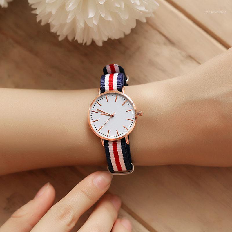 Fashion Nylon Stripe Strap Women Men Watches 28cm 40mm Quartz Wrist Watch Zegarek Damski Montre Femme Dropshipping1