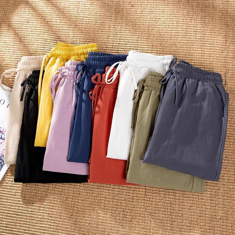 2020 Yeni kadın Bahar Pamuk Keten Pantolon Gevşek Kırpılmış Kadın Pantolon Ince Ayak Bileği Cepler Elastik Rahat Kalem Pantolon Artı Boyutu