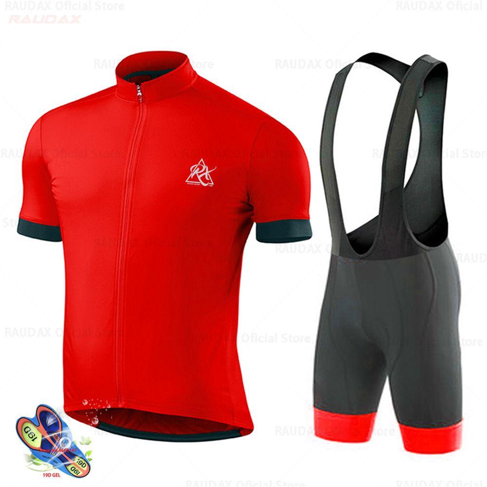 Raudax Factory Vêtements de cyclisme 2020 Pro Team Ropa Ciclismo Hombre Set de cyclisme à manches courtes MTB Bike Uniforme Maillot Ciclismo C0123