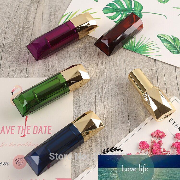 50pcs/lot DIY 12.1mm Green Lipstick Tube, Plastic Diamond Shape Creative Purple Lip Balm Bottle,Superior Quality Lip Makeup Tool