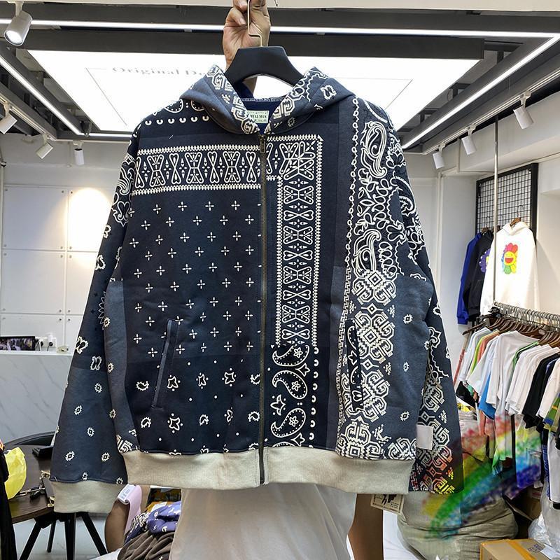 Молния кардиган кешью цветок капитал капюшон мужчины женщин тяжелые ткани пуловеры передняя задняя часть PACTHWORK WOOTSHRTS C1118