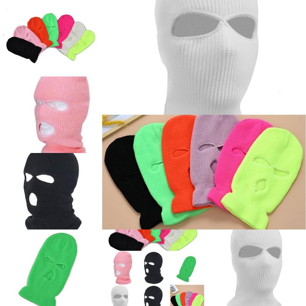 Цвет Балаклава Полная крышка для лица Маска 3 лунка Чисто трикотажная зимняя лыжная велосипедная маска теплый шарф наружные лица маски горячие SY1