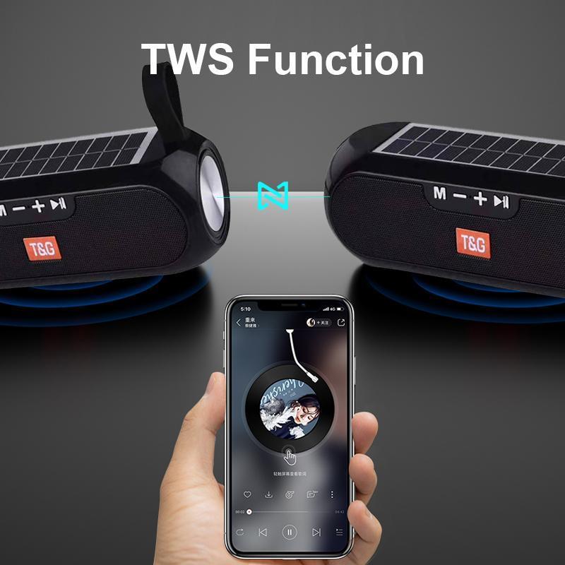 TG182 Güneş Enerjisi Bluetooth Hoparlör Taşınabilir Sütun Kablosuz Stereo Müzik Bankası Boombox TWS 5.0 Açık Destek TF / USB / AUX