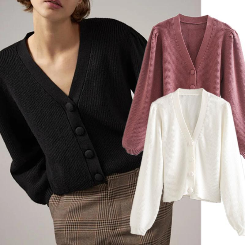 Withered 2020 England Style Simple Solid Single Breasted Winter Sweaters Women Rib Knitted Cardigans Jacket Women Sweaters