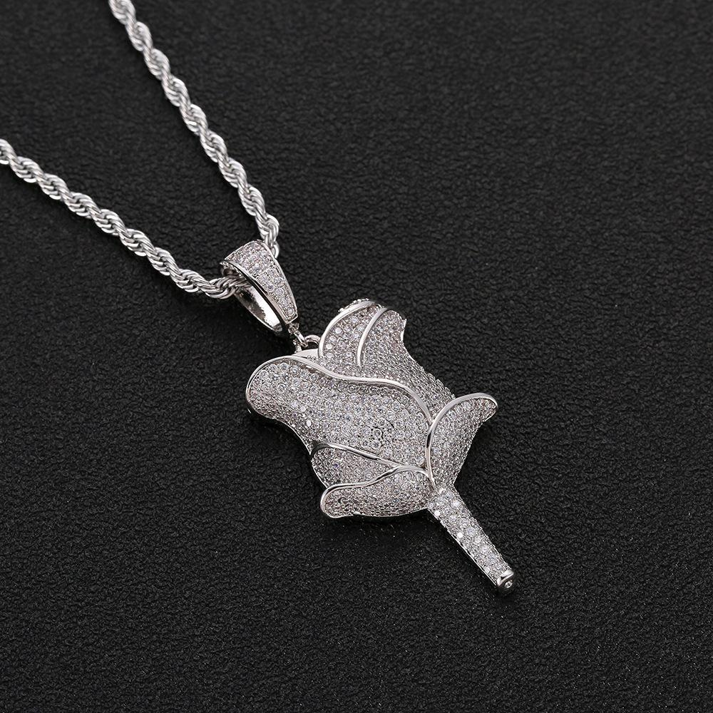 Iced Out Rose Flower Necklace Pendant Gold Silver Rose gold Cubic Zircon Bling Men Hip Hop Jewelry