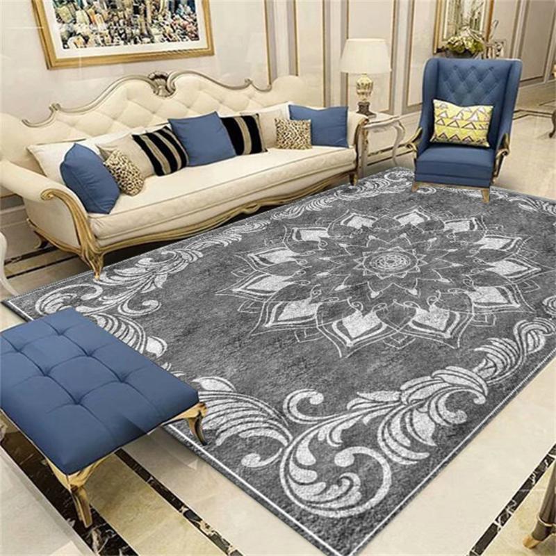 300 * 400 cm Impresión en 3D Nordic Alfombras grandes para sala de estar Área de dormitorio Alfombras Retro gris Pasillo Alfombra Custom Home Slight Floor Mat