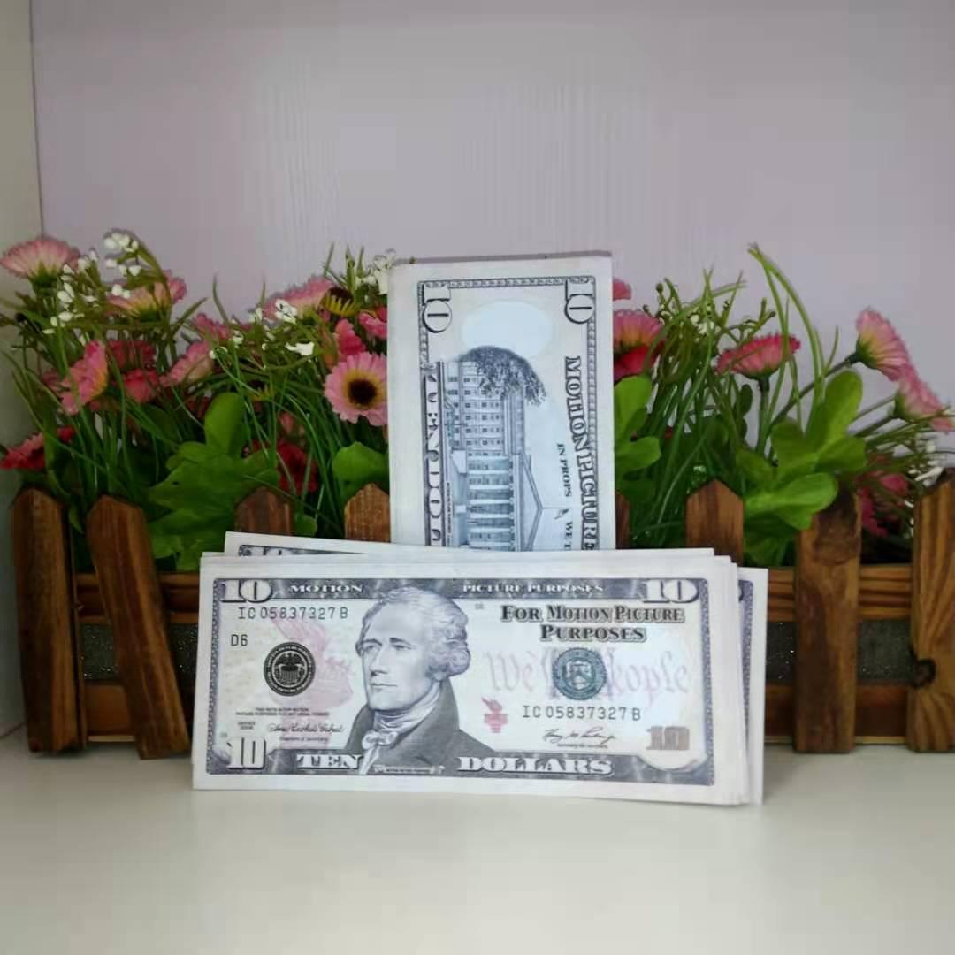 MEJOR DE CALIDAD PELÍCULA PROP BANTEZO NUEVO 10 DÓLARIO DE MONEDA DE MONEDA FAKE MONEO DE NIÑOS DE NIÑOS Billete de juguete 005