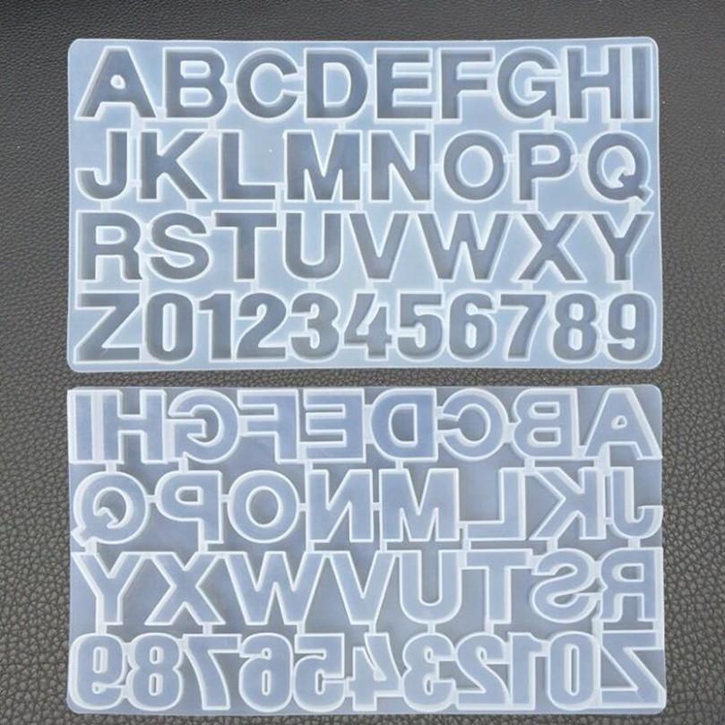 DIY Lettre Silicone Moules de Silicone Moules de résine Numéro d'alphabet Moules de silicone pour la fabrication de Porte-clés Pendentif Bijoux Sugar Casting Casting Moule