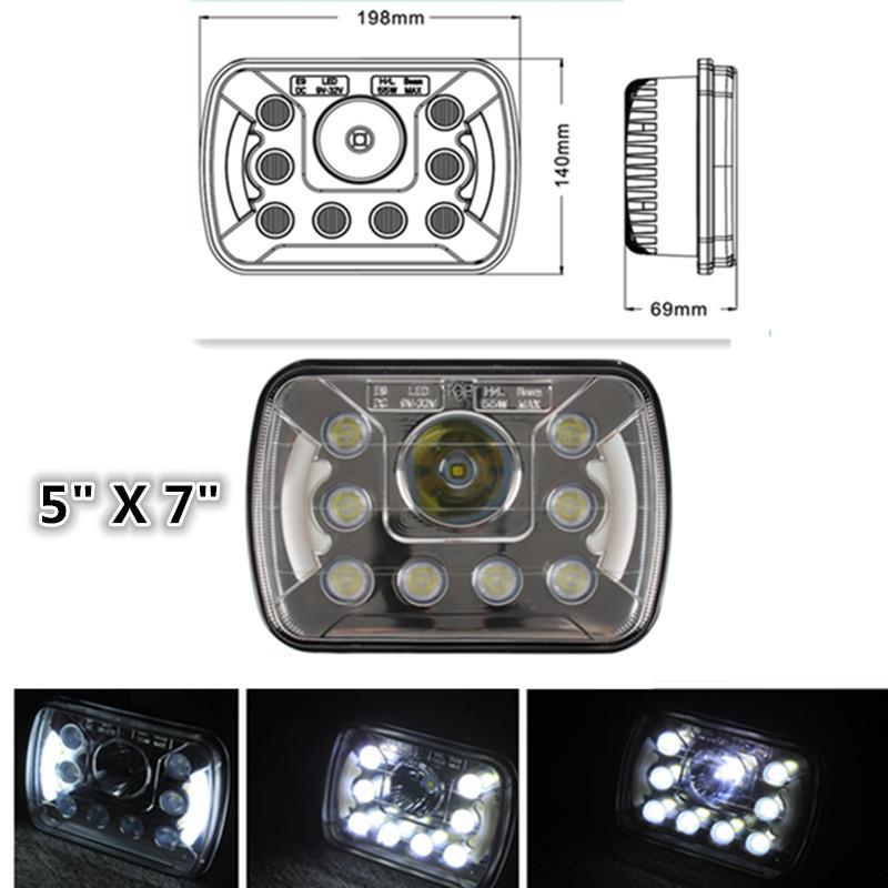 YJ farlar için, LED dikdörtgen farlar 5x7 farlar 55 W H6054 LED