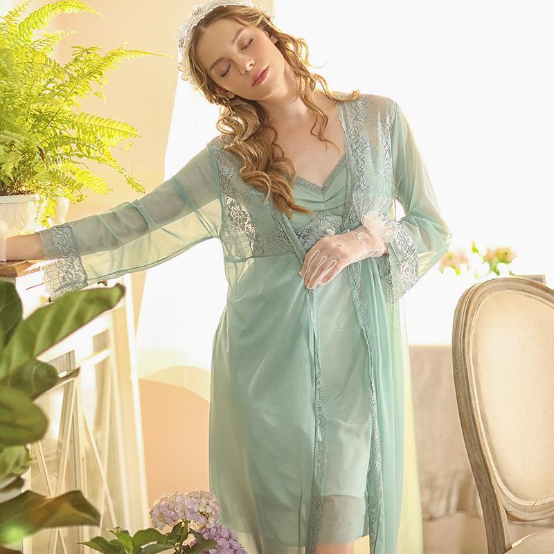 Ropa de dormir de las mujeres Nighty para la novia Sexy Mujeres Lencería Lencería y Robe Conjuntos Malla Encaje Vestido Noche Dama Dama de Dama Bathrobe Kimono Pijamas