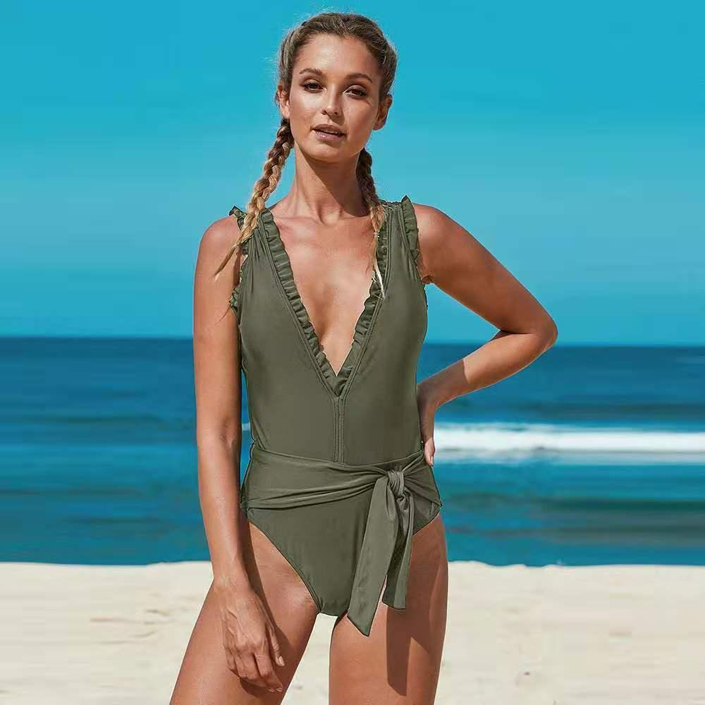 2020 Yeni Euro Amerikan Tek Parça Mayo Kadınlar Katı Renk Seksi Büyük Derin V Bikini Üçgen Tek Parça Mayo 003