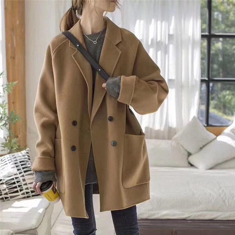 Casaco de cashmere duplo casaco feminino 2021 novo anti temporada outono inverno preto curto lã curto terno casaco de lã