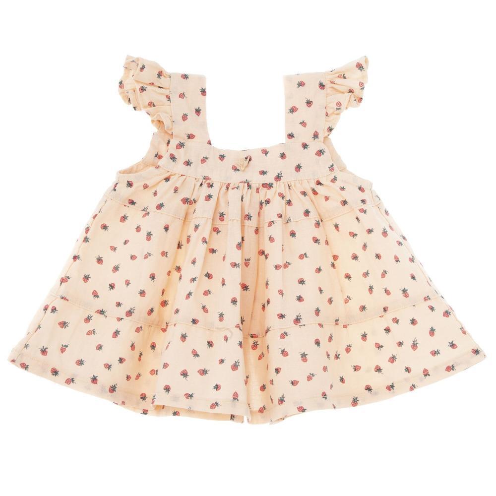 Tocoto 2020 sommer süße baby mädchen reizende dress marke design toddler mädchen erdbeer muster tutu kleider vintage kinder kleidung c1226