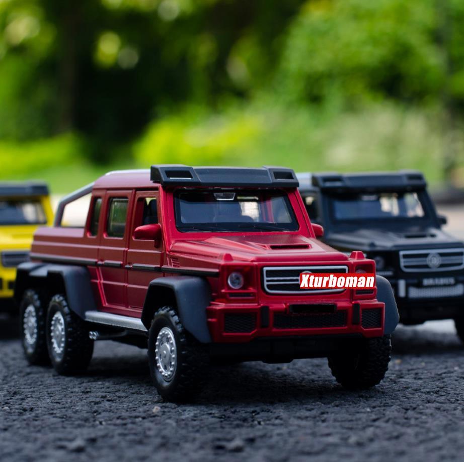 Sıcak 1:32 Ölçekli Tekerlekler Diecast Araba Benz Brab G63 6x6 Pickup Kamyon Metal Modeli Ile Işık Ses Geri Çekin Araç Oyuncak Koleksiyonu Q1217