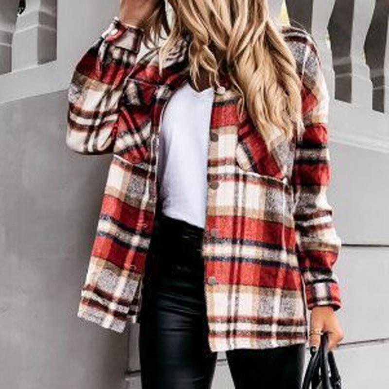 Femmes Plaid Chemises en laine de laine surdimensionnée Mode Dames douces épaisses Chemise féminine Femme élégante Tops Vintage Girls Chirin Chemise # T2Q