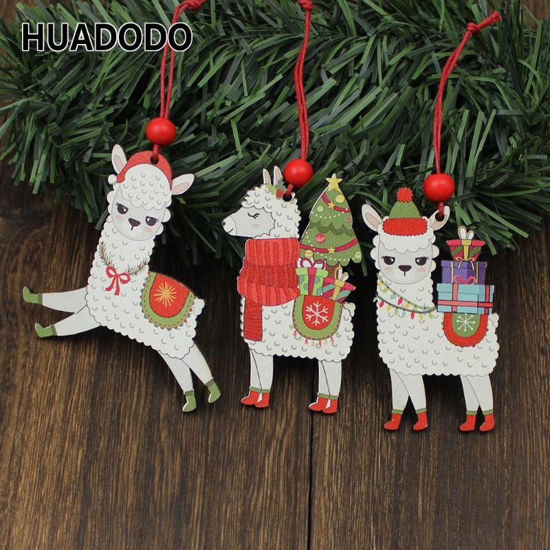HUADODO 3Pcs Wooden Alpaca Christmas Pendants Ornaments Xmas Tree Hanging Decoration for home New year Decor kids toys