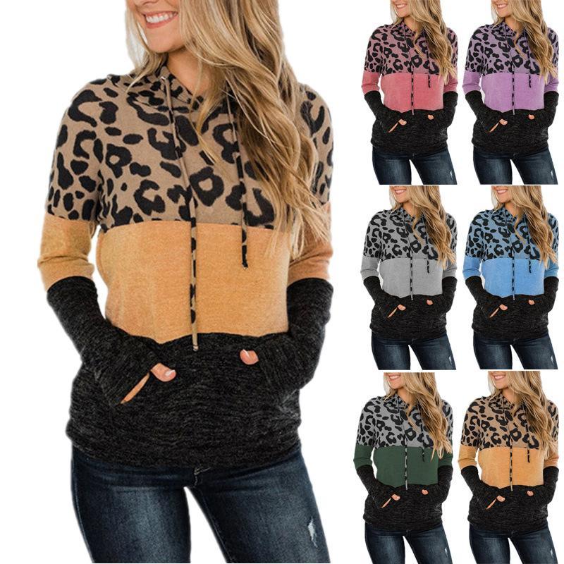 Kadınlar Moda T Shirt Hoodies Baskı Patchwork Sonbahar Kış Uzun Kollu Kapşonlu Kazak Rahat Gevşek Spor Gömlek Giyim S-3XL