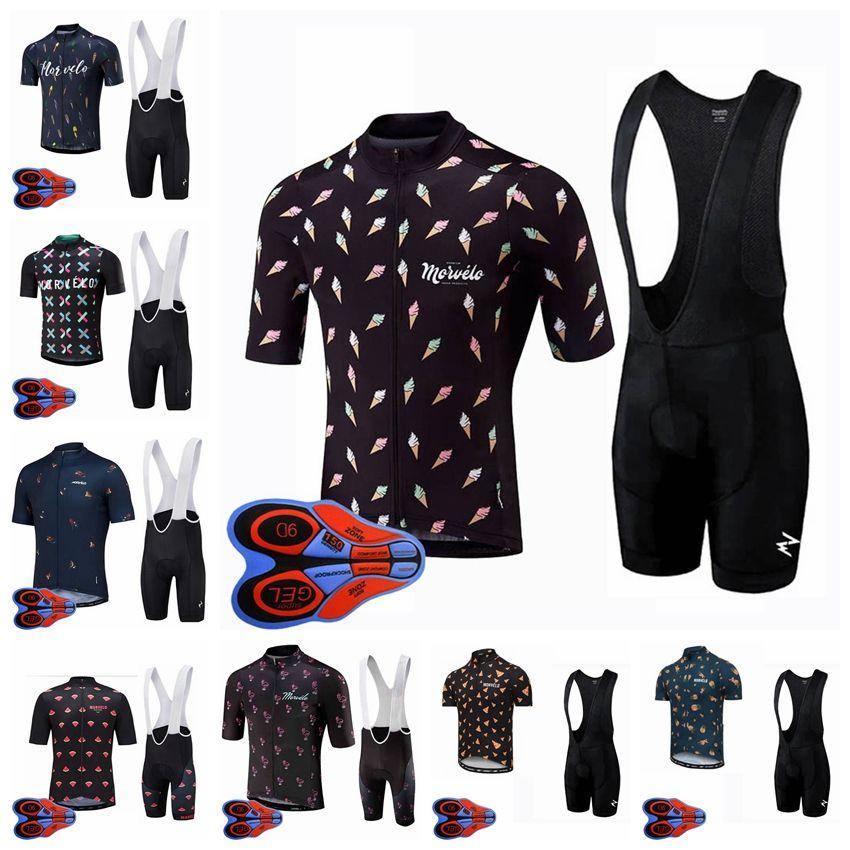 Erkek Morvelo Takım Bisiklet Bisiklet Jersey Kısa Kollu Gömlek 9D Önlüğü Şort Kiti Yol Yarış Bisiklet Kıyafetler Spor Üniforma S120706
