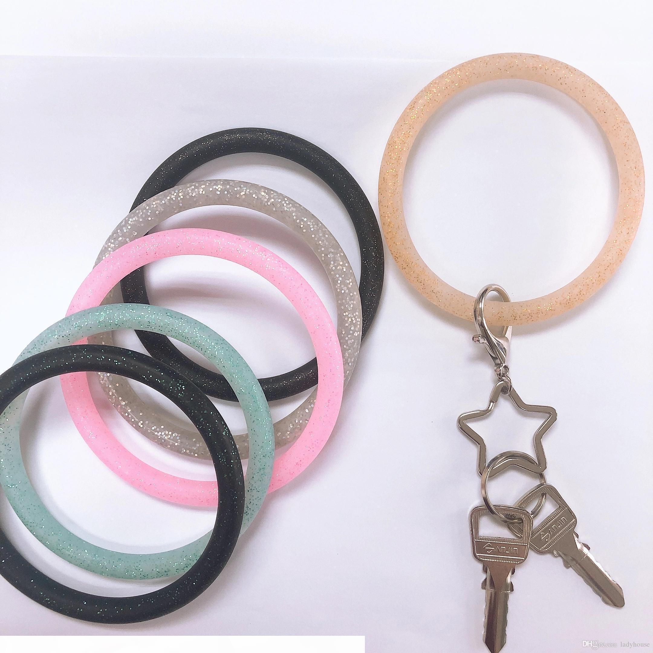 Neue Trend Silikon Bangle Key Ring Handgelenk Keychain Armband Runde Schlüssel Ringe Nette Schlüsselring Heiße Produkte