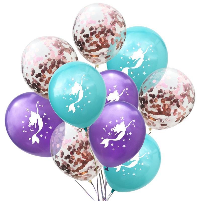 Sirène Sequins Ballon Bleu Purple Party Party Décoration Ballons Latex Festival Anniversaire Decorations Airballonon Nouvelle arrivée 5 2As L1