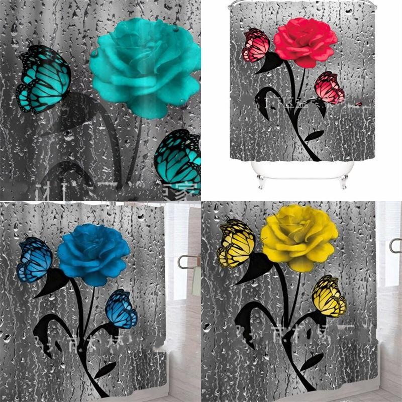 Polyester Tuch Duschvorhang Mode Wohnkultur Digitaldruck Blume Bequem Wasserdichte Badezimmer Vorhänge Haushaltsbedarf 46YJ F2