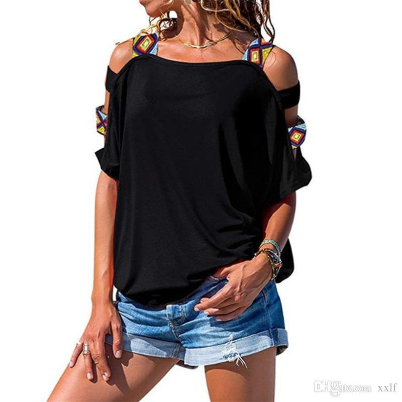 Tops Slim Hemd T-shirt Frauen Herbst Frauen T-Shirt Weibliche Schultertüre T Kurzarm Solid T-Shirts