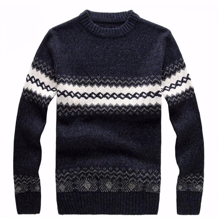 New Cheshanf 2020 modelli a maglia da uomo a strisce fitti a strisce pullover maglioni invernali casual tondo scollo a lana maglione uomo