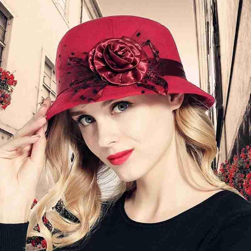 Kova kap bayanlar çiçek kadın melon şapka cloche retro moda vintage İngiliz yün şapka keçe