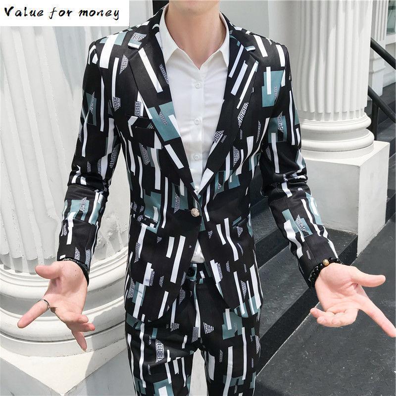 Tasarımcının Renk Moda Dikdörtgen Takım Erkekler Slim Fit Dikiş Renk Suit Blazer Pantolon Erkekler Dört Mevsim Parti Balo Takımları
