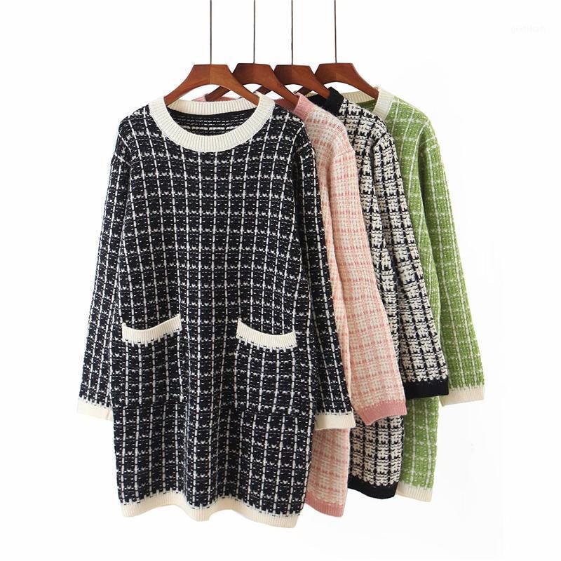 MUJERES ELEGANTES SWEETS 2020 Otoño Moda para las señoras O-cuello suéter Sweet Female Streetwear Pockets Tops Chic Girl1